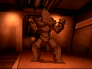 Toph in metal armor