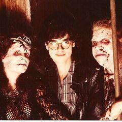 Make-up FX wizard Steve Johnson with his demonic creations, Angela (Amelia Kinkade) and Stooge (Hal Havins).