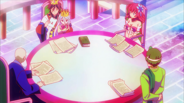 File:Sora, Shiro, Steph and Elderly Official discussing Elchea matters.png