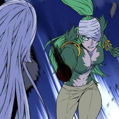 Seira cuts off Mirai's wrist.
