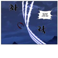 Rai dodges an attack and shoots an energy beam at Muzaka.