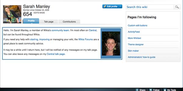 Sarah user page