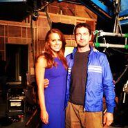 OHF- Michelle Celeste on-set with Gerard Butler
