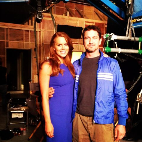 File:OHF- Michelle Celeste on-set with Gerard Butler.jpg