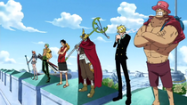 Straw Hats Stand on Courthouse