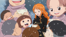 Nami and the Children at Punk Hazard Party