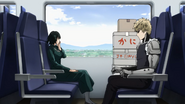 Genos and Fubuki on train