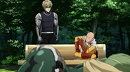 Saitama giving advice to Genos