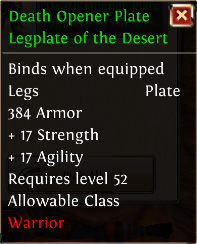 Death opener plate legplate of the desert