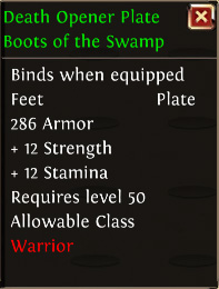 Death opener plate boots of the swamp
