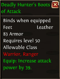 Deadly hunters boots of attack