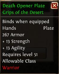 Death opener plate grips of the desert