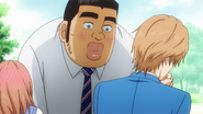 Makoto and Rinko laughing for Takeo being too close