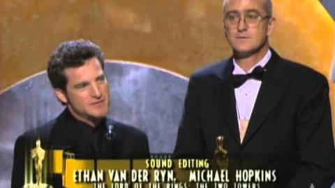 """Lord of the Rings The Two Towers"" winning a Sound Editing Oscar®"
