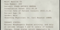 Project Walrider Patient Status Report for Frank Manera