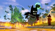 Lego Dimensions The Wicked Witch of the West attacking Batman, Gandalf and Wyldstyle.