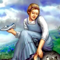 Dorothy tries on the Silver Shoes.