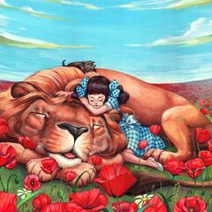 Dorothy, Toto and Lion asleep amongst the poppies.