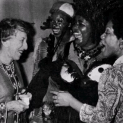 Margret Meeting Hinton Battle, Mabel King and cast member after a showing of The Wiz