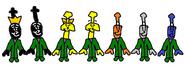 Donald, Douglas, Bill, Ben, Bash, Dash, and Ferdinand as The Teensies.