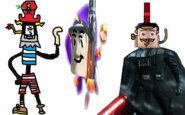 Devious Diesel as Razorbeard, Zorran as Ripto, and Oliver the Vast as Dr. Neo Cortex.