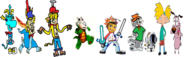 Thomas as Rayman, Ten Cents as Spyro, Theodore Tugboat as Crash Bandicoot, Rocko as Croc, Barry as Spike, Tom and Bobert as Ratchet and Clank, and Arnold and Courage as Jak and Daxter.