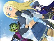 Terra with Beast Boy and Raven