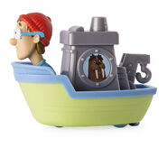 PAW Patrol Cap'n Turbot Captain Turbot in the Flounder Boat Toy Figure Rescue Racers Wally the Walrus