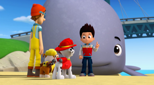 File:PAW Patrol - Baby Whale with Ryder, Pups and Cap'n Turbot - Very Big Baby 7.png