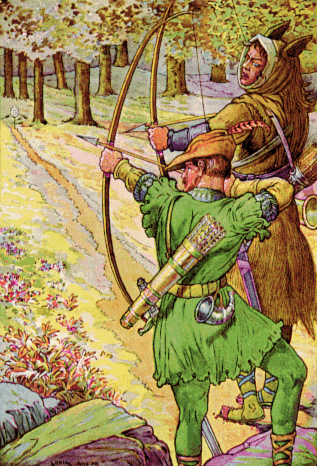 File:Robin shoots with sir Guy by Louis Rhead 1912.png