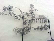 Cow & Fish wrought iron sculpture, Fish Lane, George Town, Penang