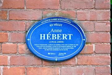 Plaque Anne Hébert à Québec