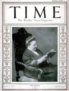 Amy Lowell Time magazine cover 1925