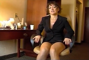 Debbie magnetized to a chair