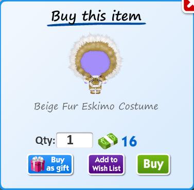 Beige fur eskimo costume