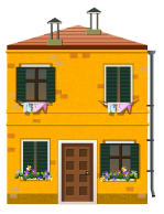 Yellow venetian house decal