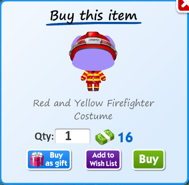 Red and yellow firefighter costume