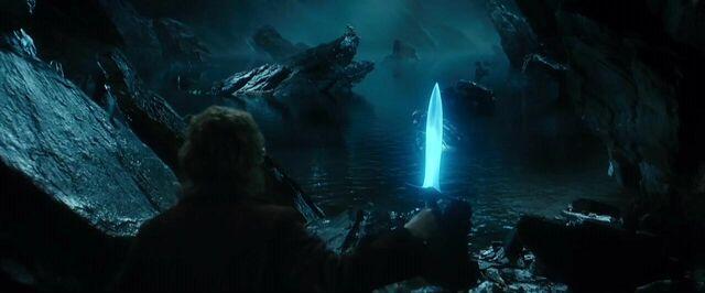 File:Bilbo in Gollum's cave.jpg