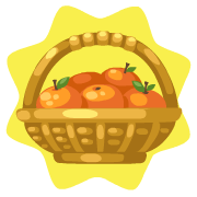 Tangerine basket decor
