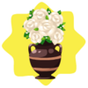 White roses flower pot