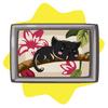 Vintage framed cat painting