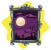 Halloween graveyard painting