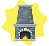 Traditional brick fireplace