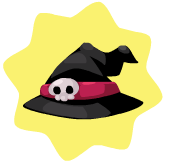 Black crooked witch hat