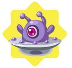 Flying purple ufo