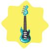 Shiny blue rock guitar