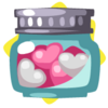 Jar of assorted candy