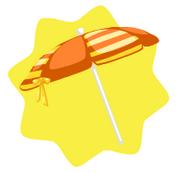 Orange striped beach umbrella