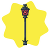 Cast iron heart lamp post