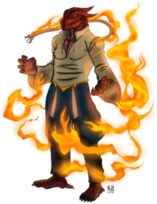 Red Dragonborn Fire Wizard